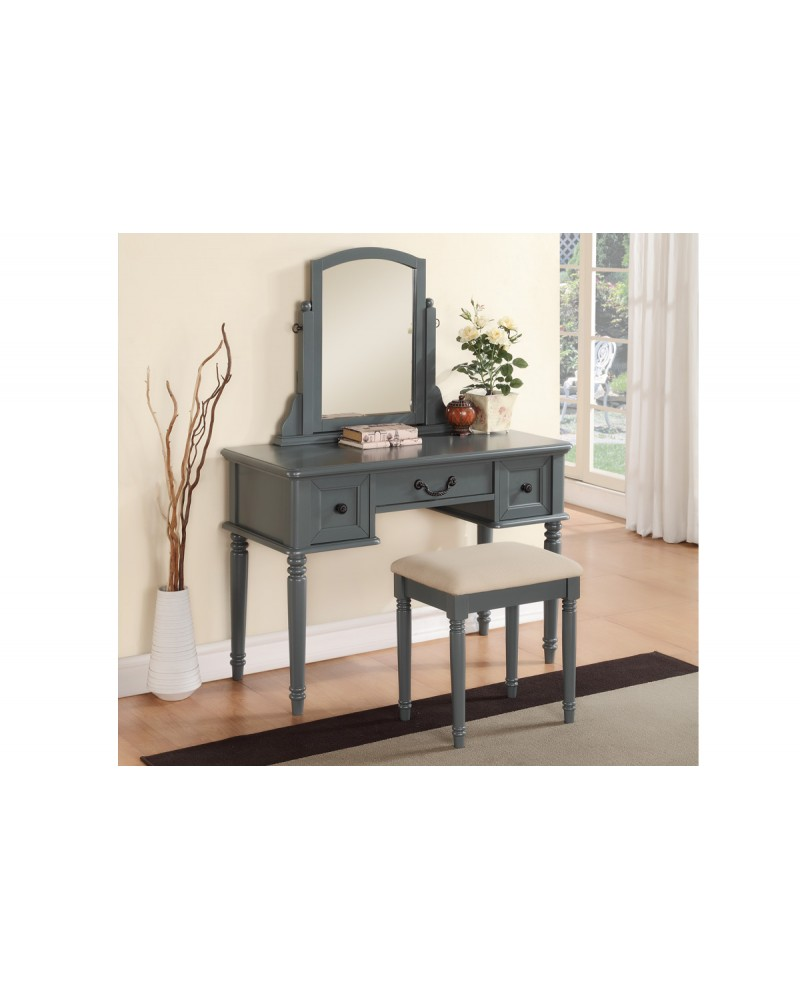 Blue Grey Vanity Set with Stool by Poundex - F4091