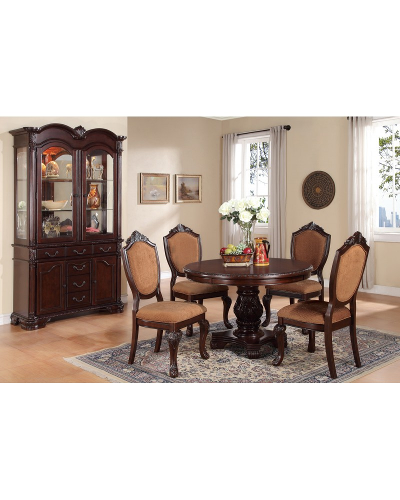 Carved Round Dining Table by Poundex- F2187