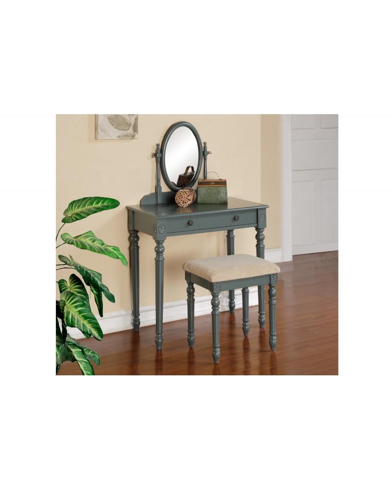 Blue Grey Vanity Set by Poundex -F4075