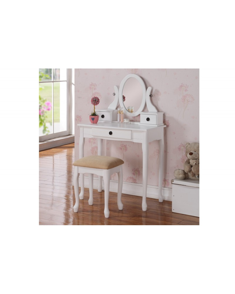 White Finish Vanity Set with Stool by Poundex - F4089