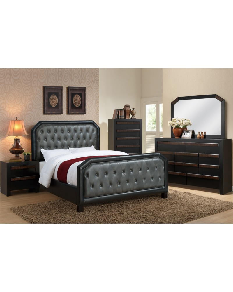Black and Grey Queen Bed by Poundex - F9265