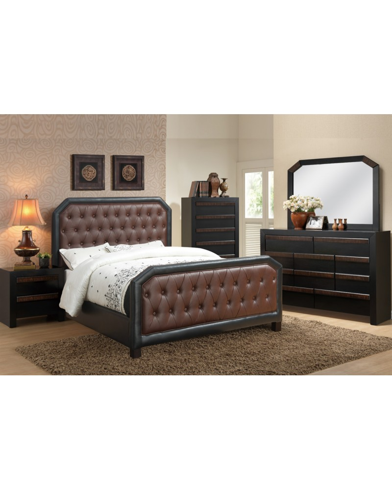Burgundy Bonded Leather Queen Bed by Poundex -F9267