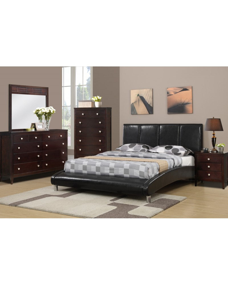 Wooden Queen Faux Leather Bed with curved footboard by Poundex - F9240Q