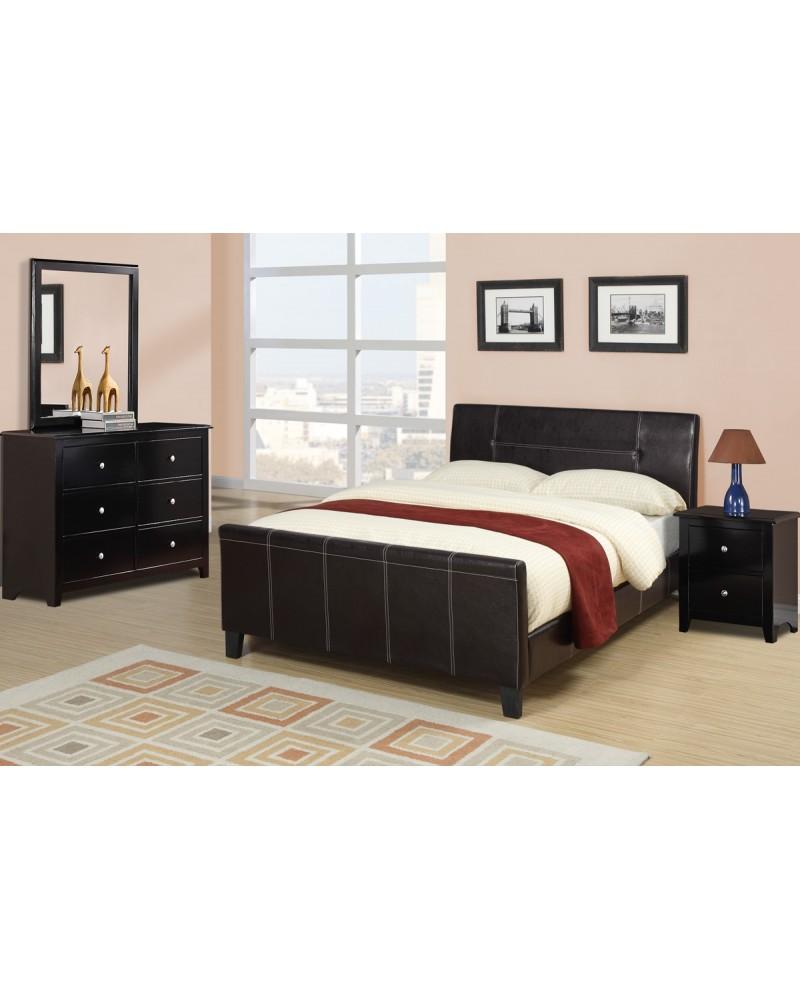 Espresso Queen Size Platform Bed by Poundex - F9225