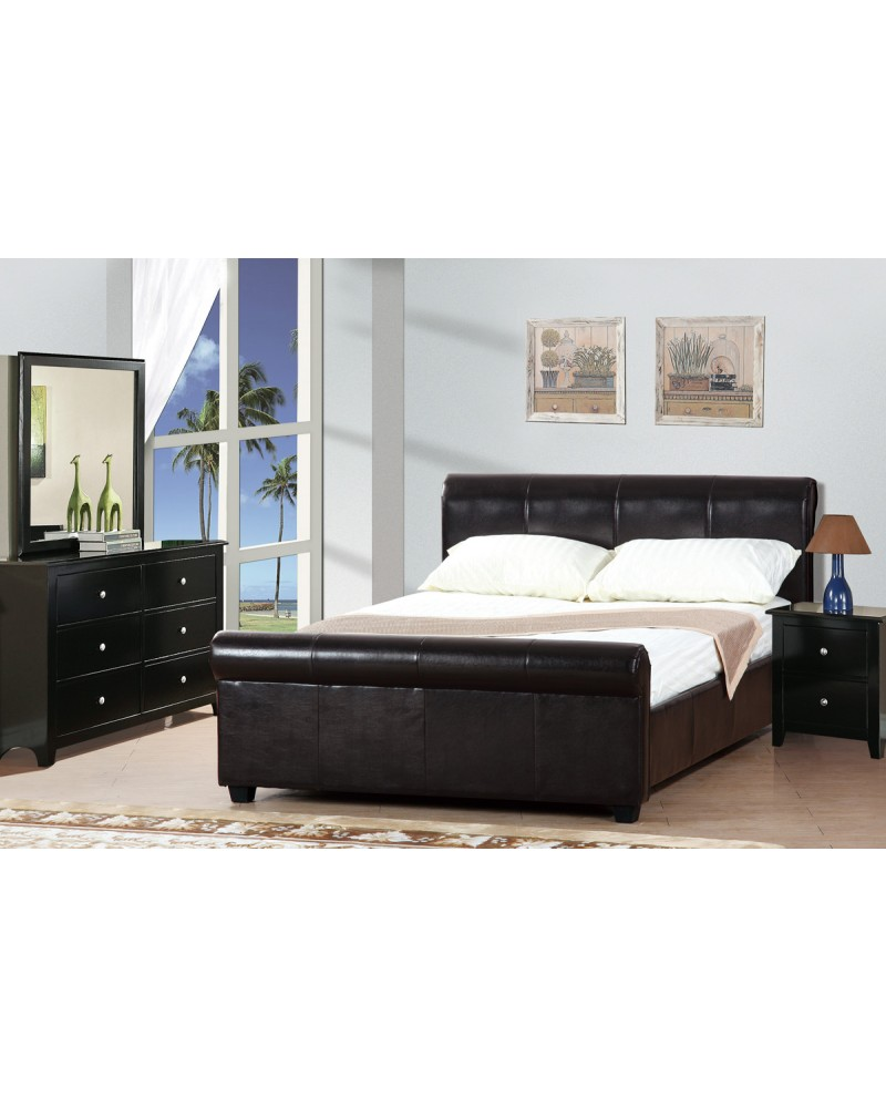 Espresso Faux Leather Queen Bed by Poundex -F9213
