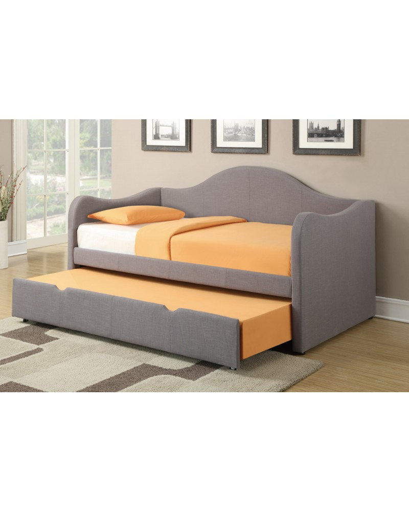 Grey Linen Twin Bed by Poundex -F9224