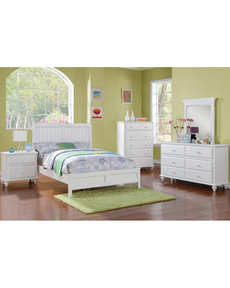 White Finish Interchangeable Headboard Twin Bed by Poundex -F9115T