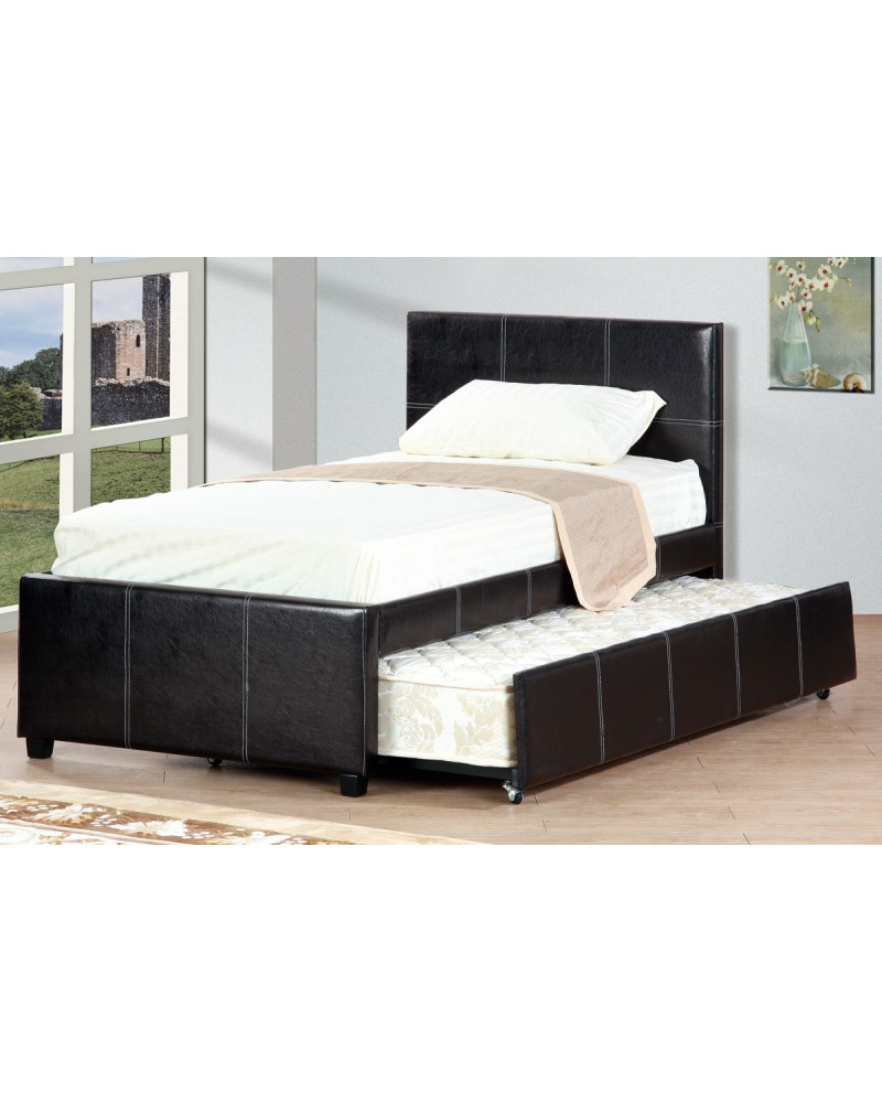 Padded Faux Leather Twin Bed with Trundle by Poundex -F9214T