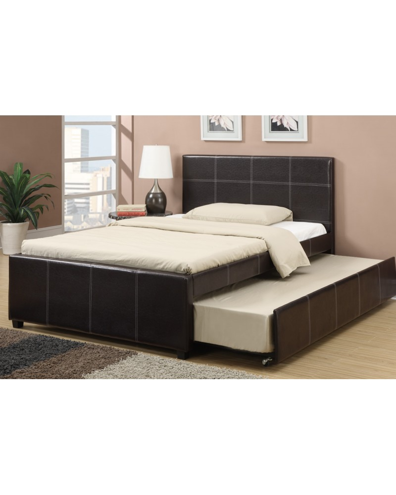 Full Faux Leather Bed with Trundle by Poundex -F9214F