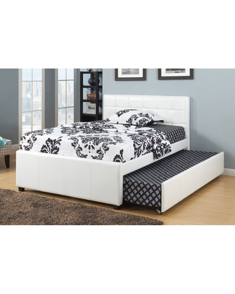 White Padded Twin Bed with Trundle by Poundex -F9216T