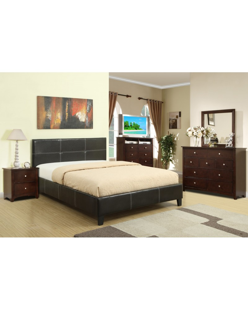 Espresso Padded Leather Queen Bed by Poundex- F9253