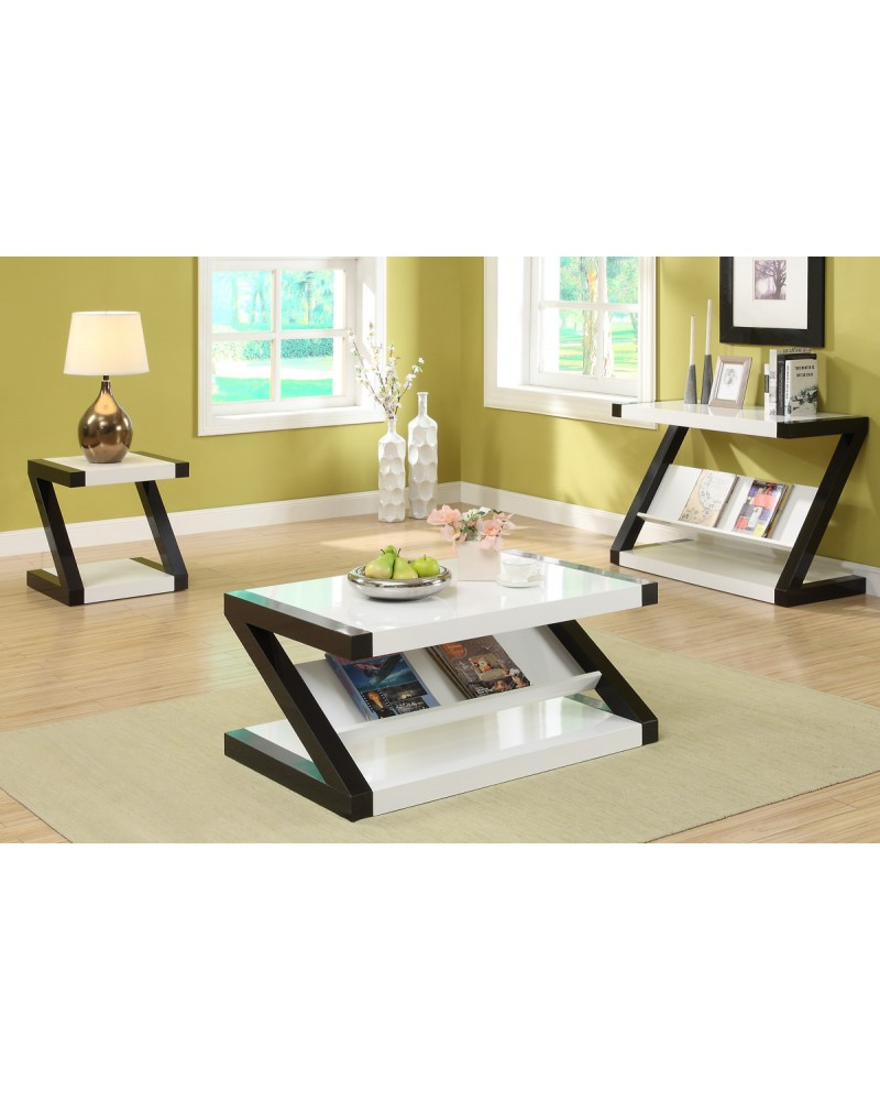Black and White Console Table by Poundex - F6311
