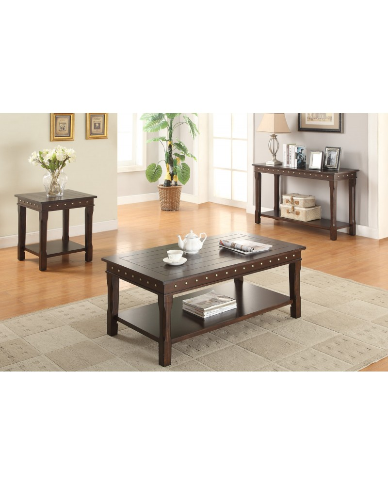 Dark Brown Square End Table by Poundex - F6317