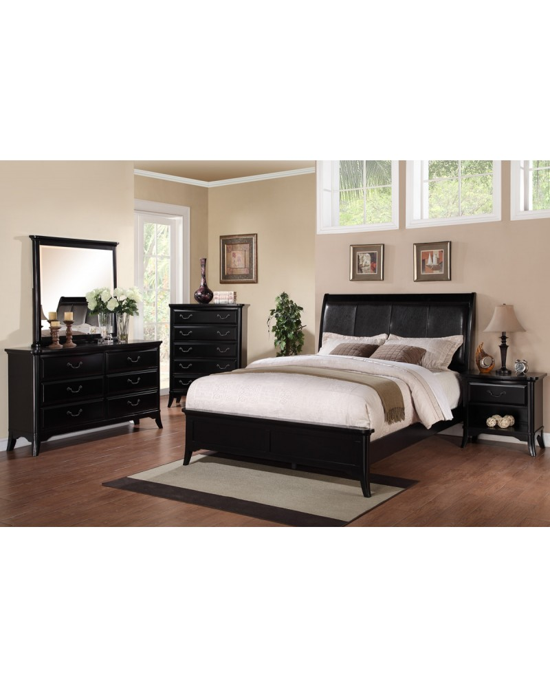Espresso Faux Leather Queen Bed by Poundex - F9288Q