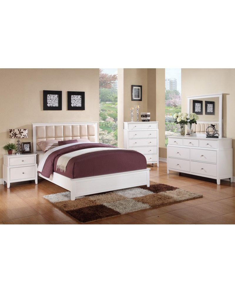 White Finish Dresser with Drawers by Poundex - F4742