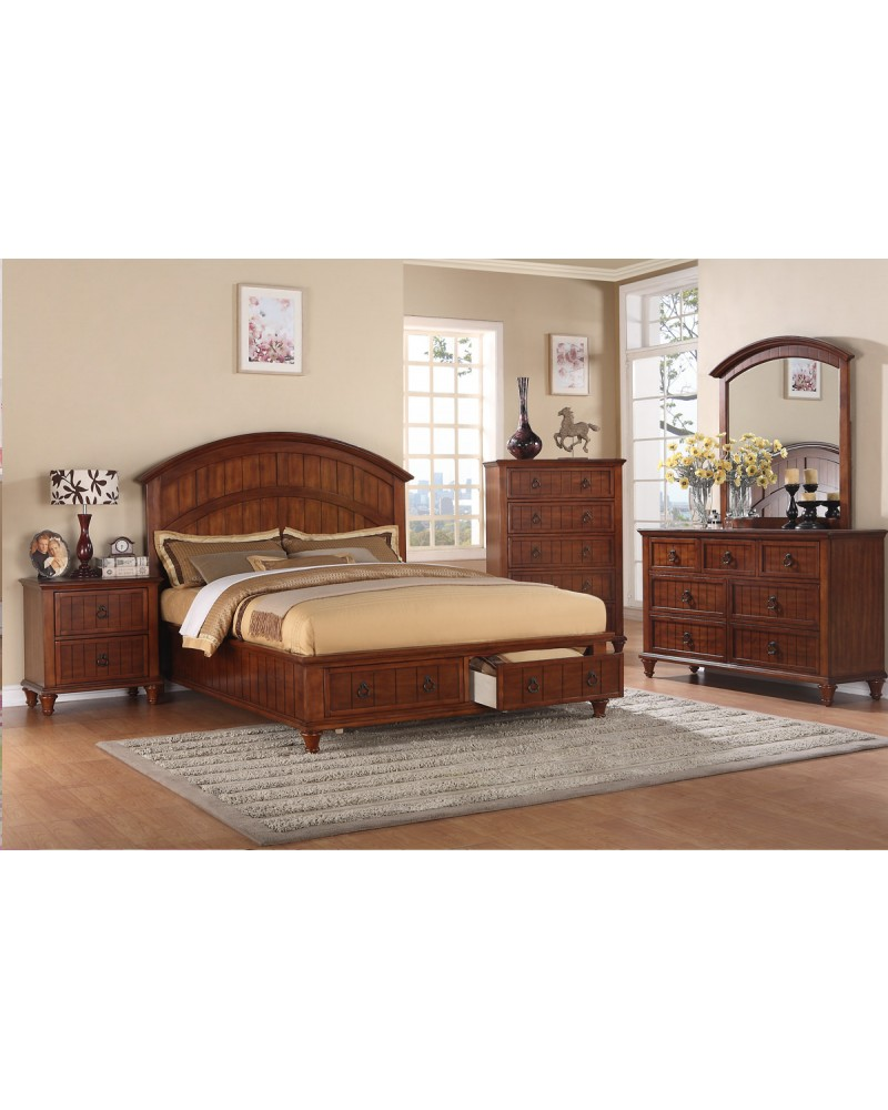 Dark Walnut Queen Bed by Poundex - F9227Q