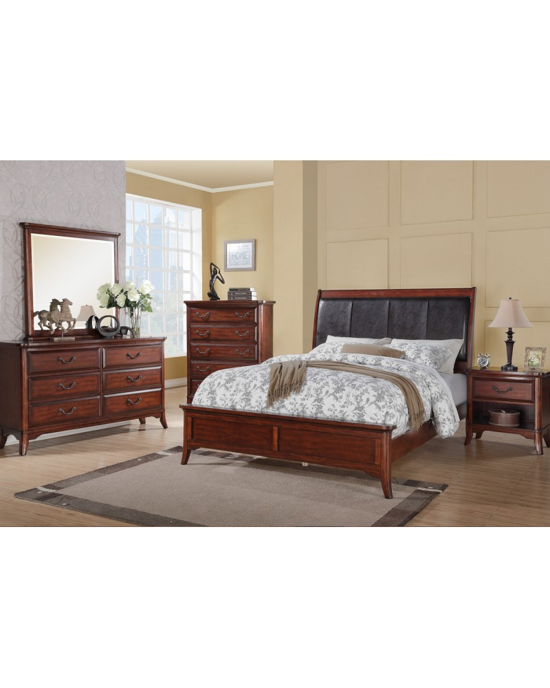 Rich Oak Wood Finish Queen Bed by Poundex - F9291Q