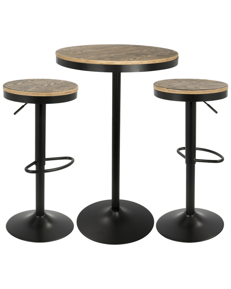 Dakota 3-Piece Industrial-Farmhouse Dining Set in Black
