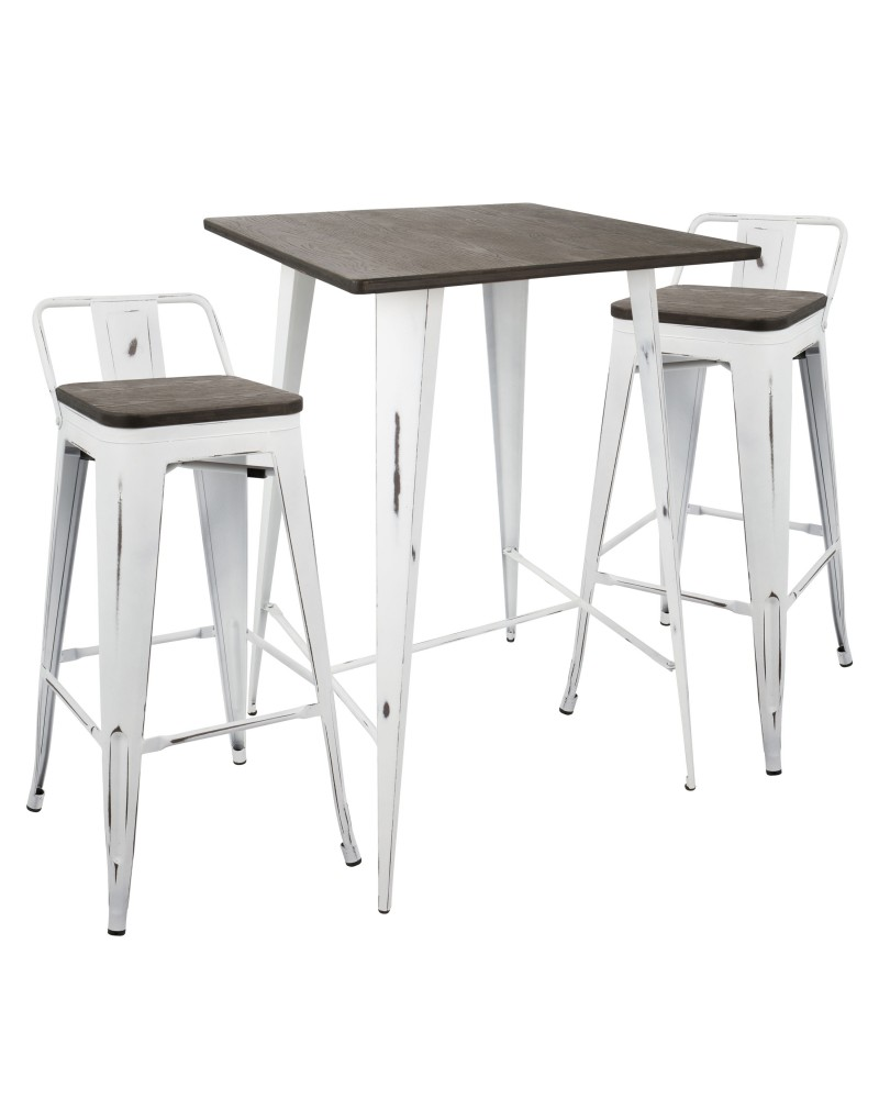 Oregon 3-Piece Industrial Low Back Set in Vintage White and Espresso