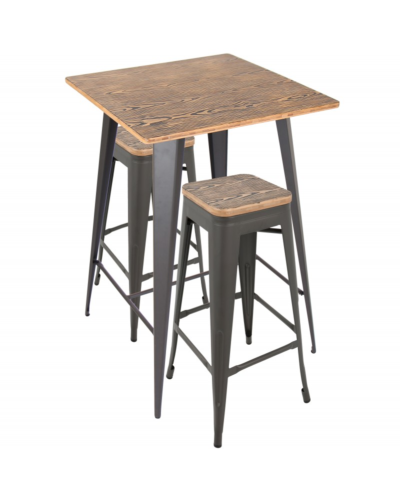 Oregon 3-Piece Industrial Set in Grey and Brown