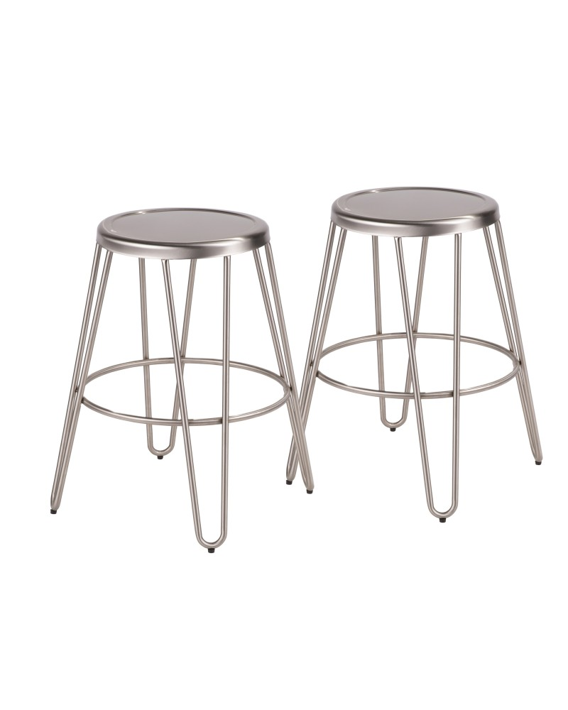 Avery Industrial Metal Counter Stool in Brushed Stainless Steel - Set of 2