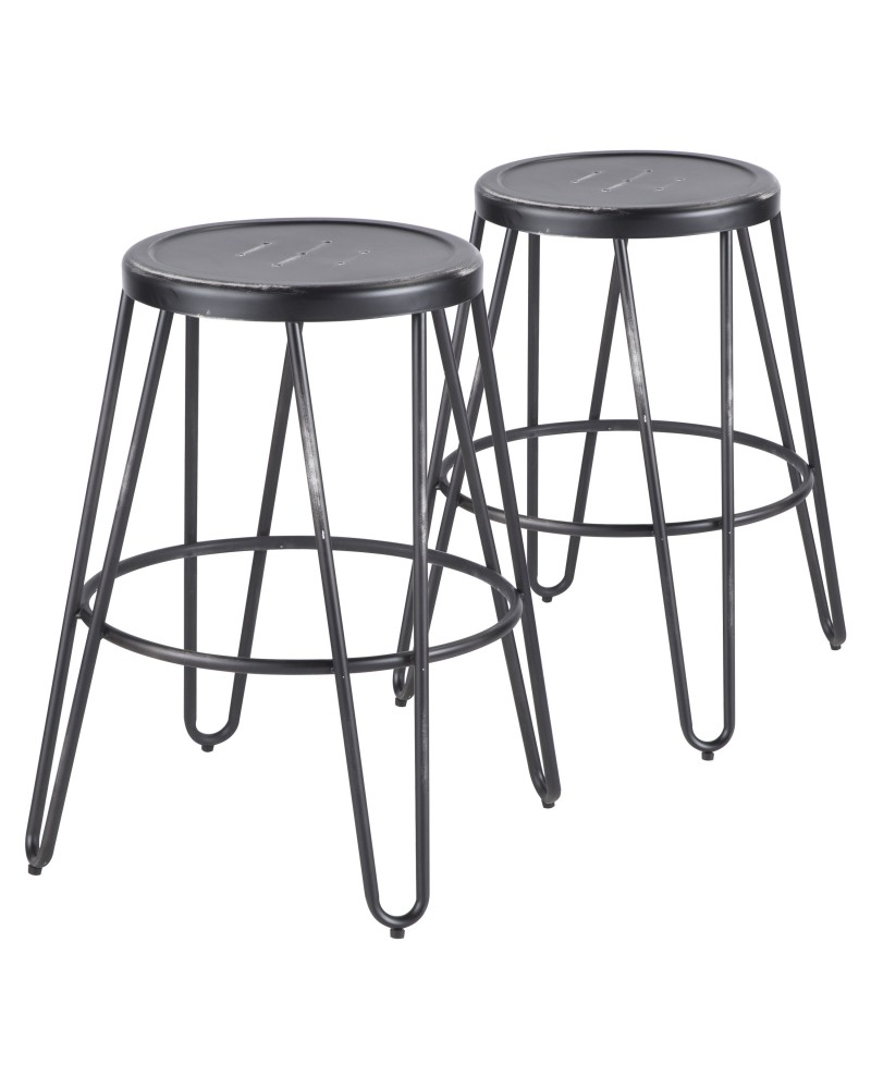 Avery Industrial Metal Counter Stool in Vintage Black - Set of 2