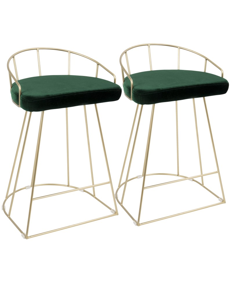 Canary Contemporary-Glam Counter Stool in Gold with Green Velvet - Set of 2