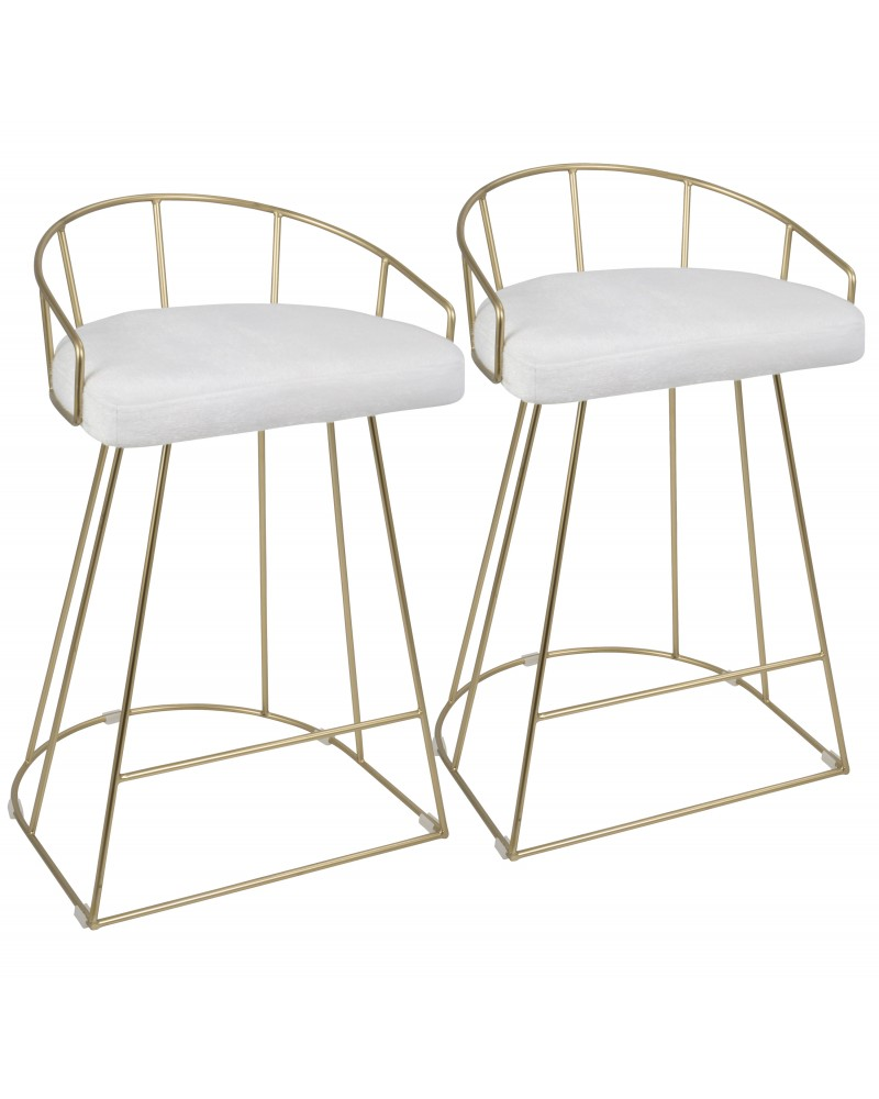 Canary Contemporary-Glam Counter Stool in Gold with White Mohair Fabric - Set of 2