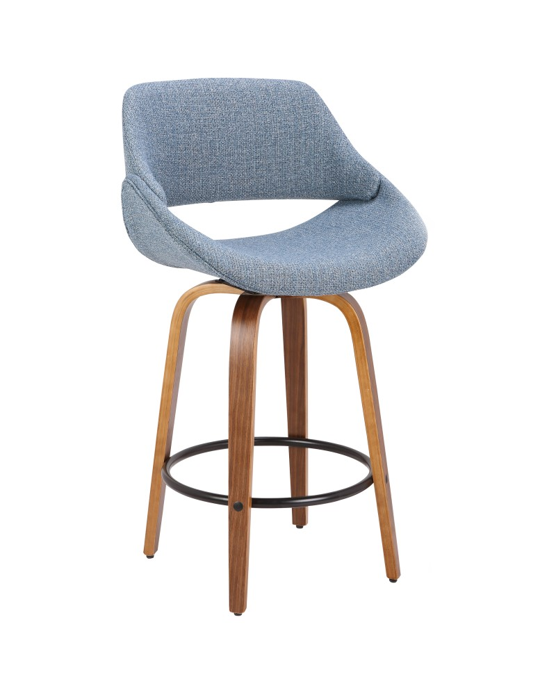 Fabrico Mid-Century Modern Counter Stool in Walnut and Blue Noise Fabric