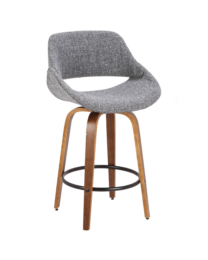 Fabrico Mid-Century Modern Counter Stool in Walnut and Grey Noise Fabric