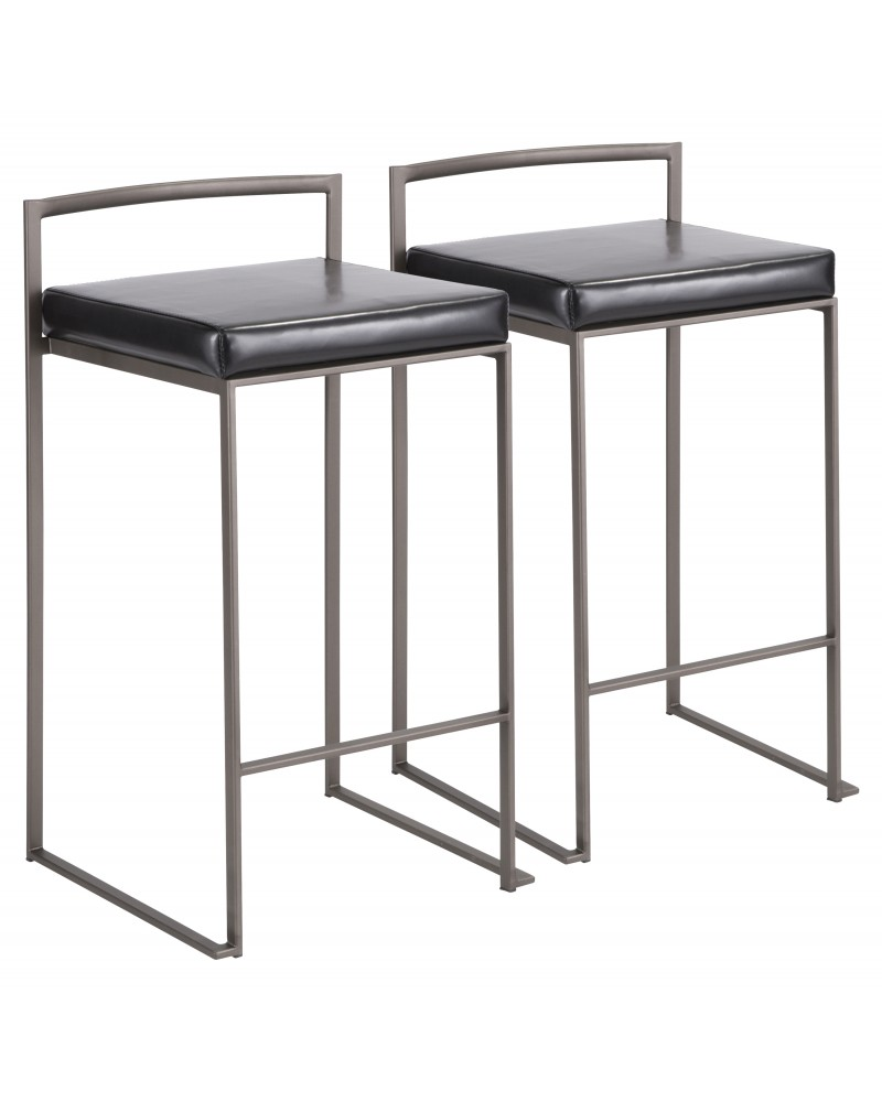Fuji Industrial Stackable Counter Stool in Antique with Black Faux Leather Cushion - Set of 2