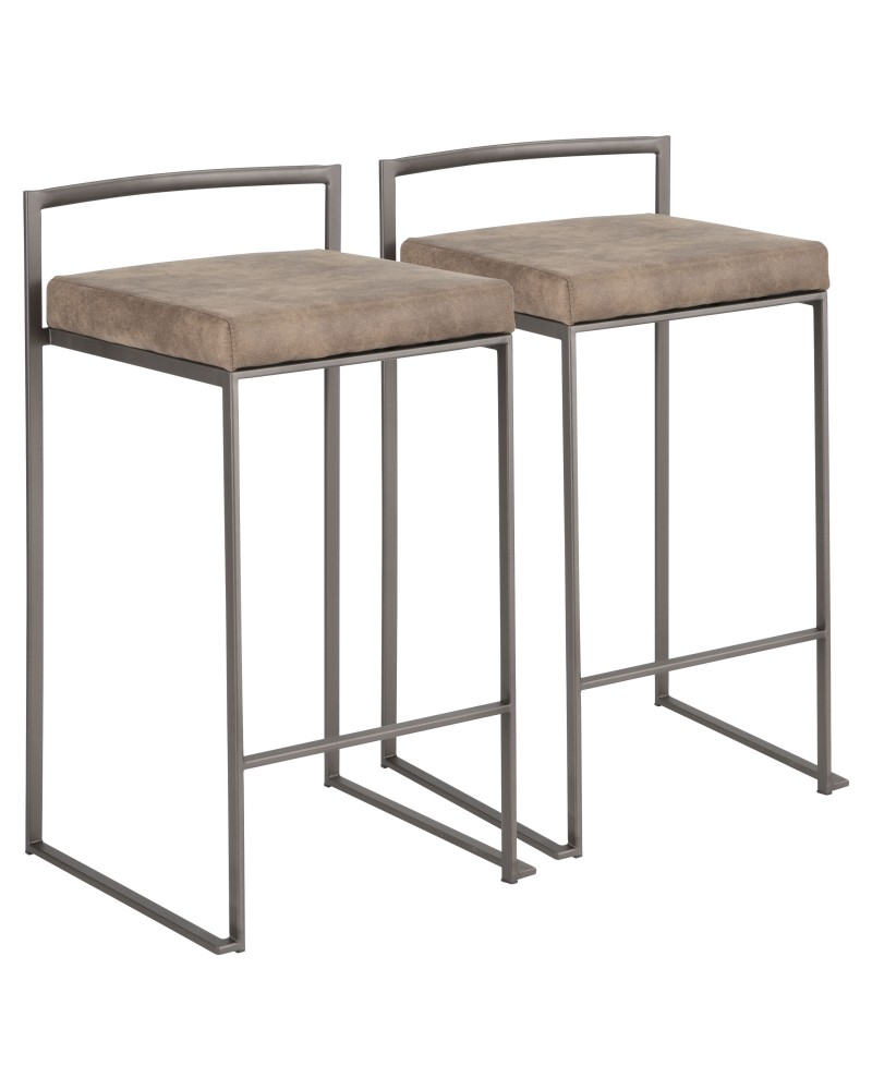 Fuji Industrial Stackable Counter Stool in Antique with Brown Cowboy Fabric Cushion - Set of 2