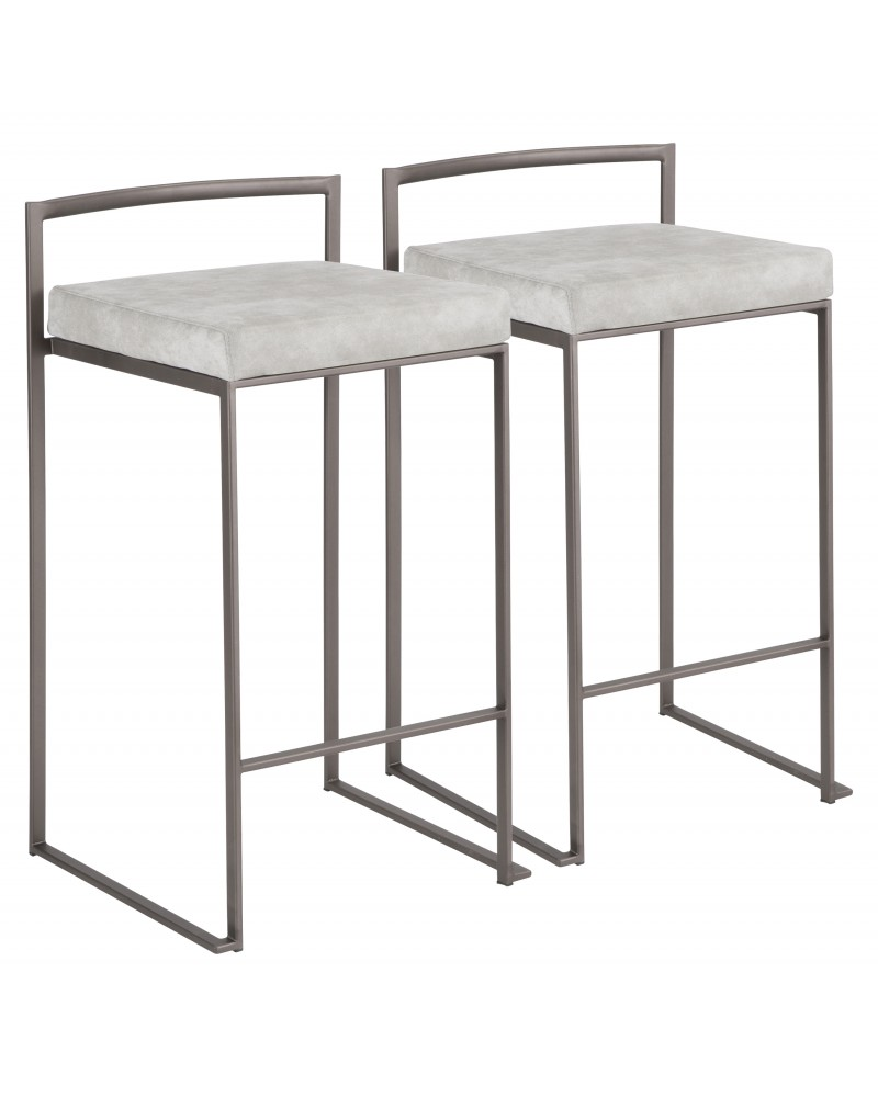Fuji Industrial Stackable Counter Stool in Antique with Light Grey Cowboy Fabric Cushion - Set of 2