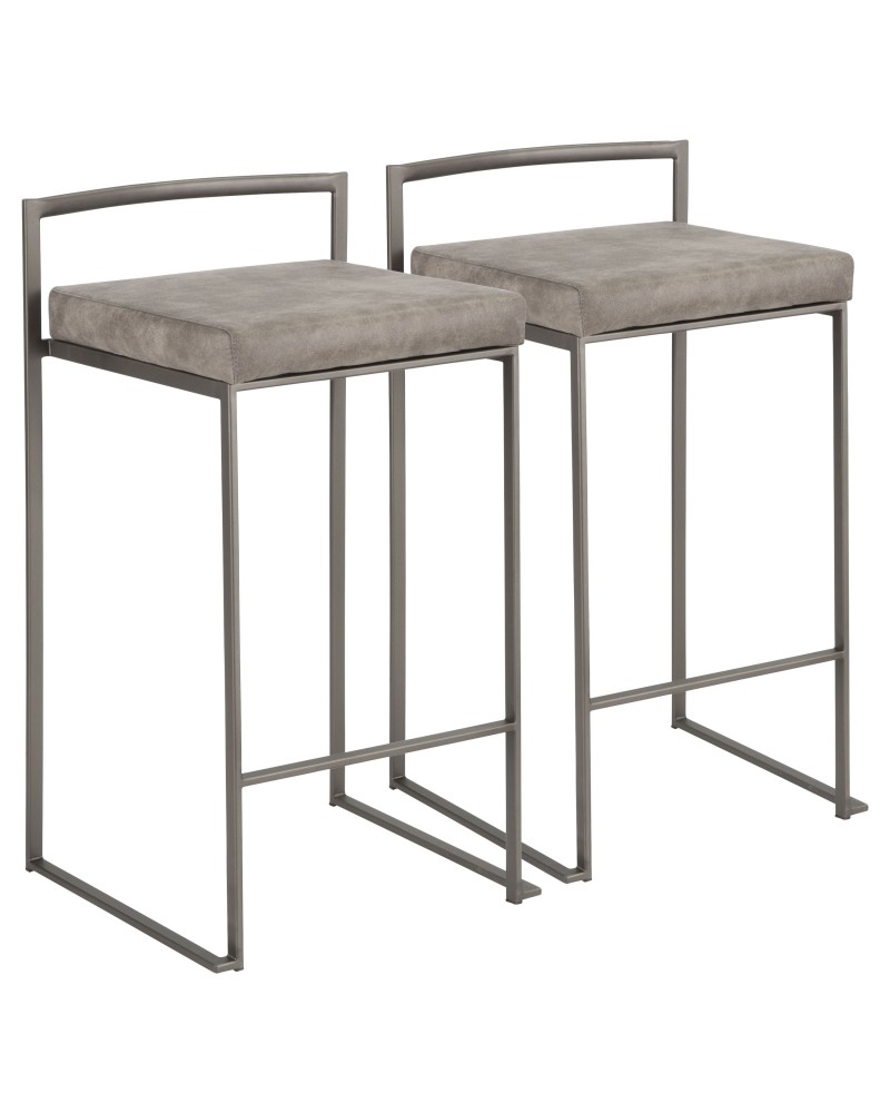 Fuji Industrial Stackable Counter Stool in Antique with Stone Cowboy Fabric Cushion - Set of 2
