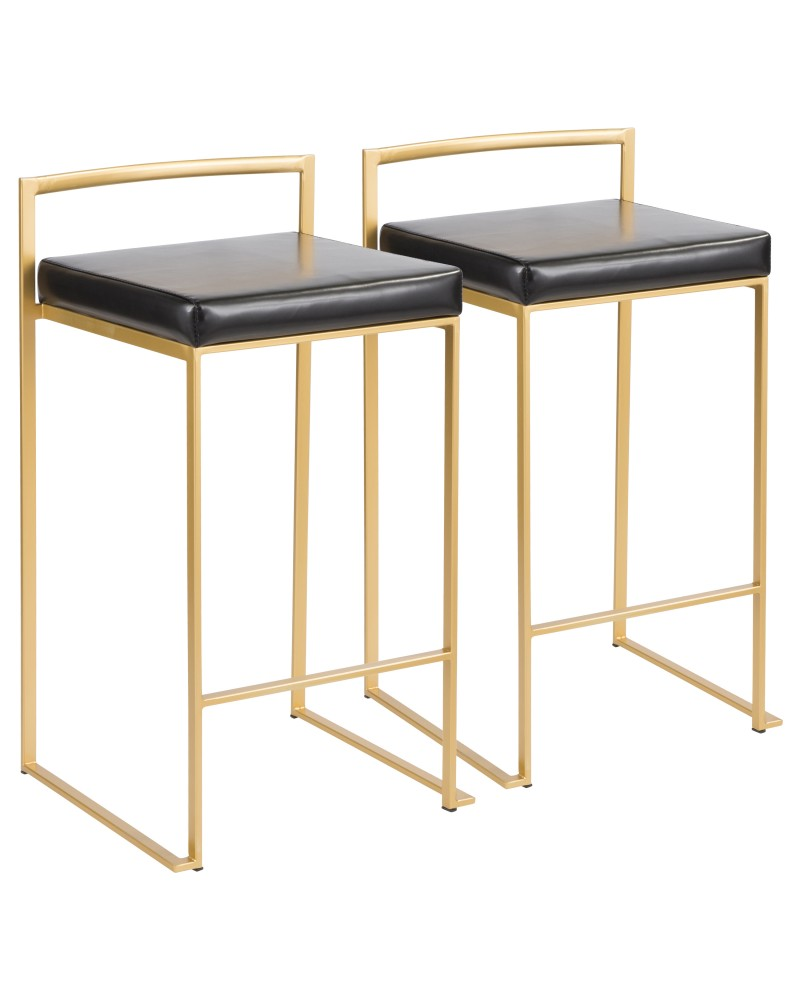 Fuji Contemporary-Glam Counter Stool in Gold with Black Faux Leather - Set of 2