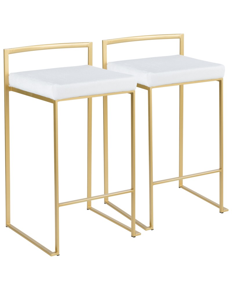 Fuji Contemporary-Glam Stackable Counter Stool in Gold with White Mohair Cushion - Set of 2