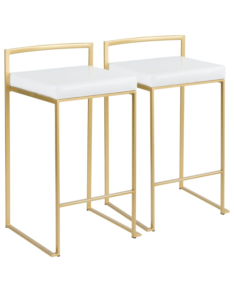 Fuji Contemporary-Glam Counter Stool in Gold with White Faux Leather - Set of 2