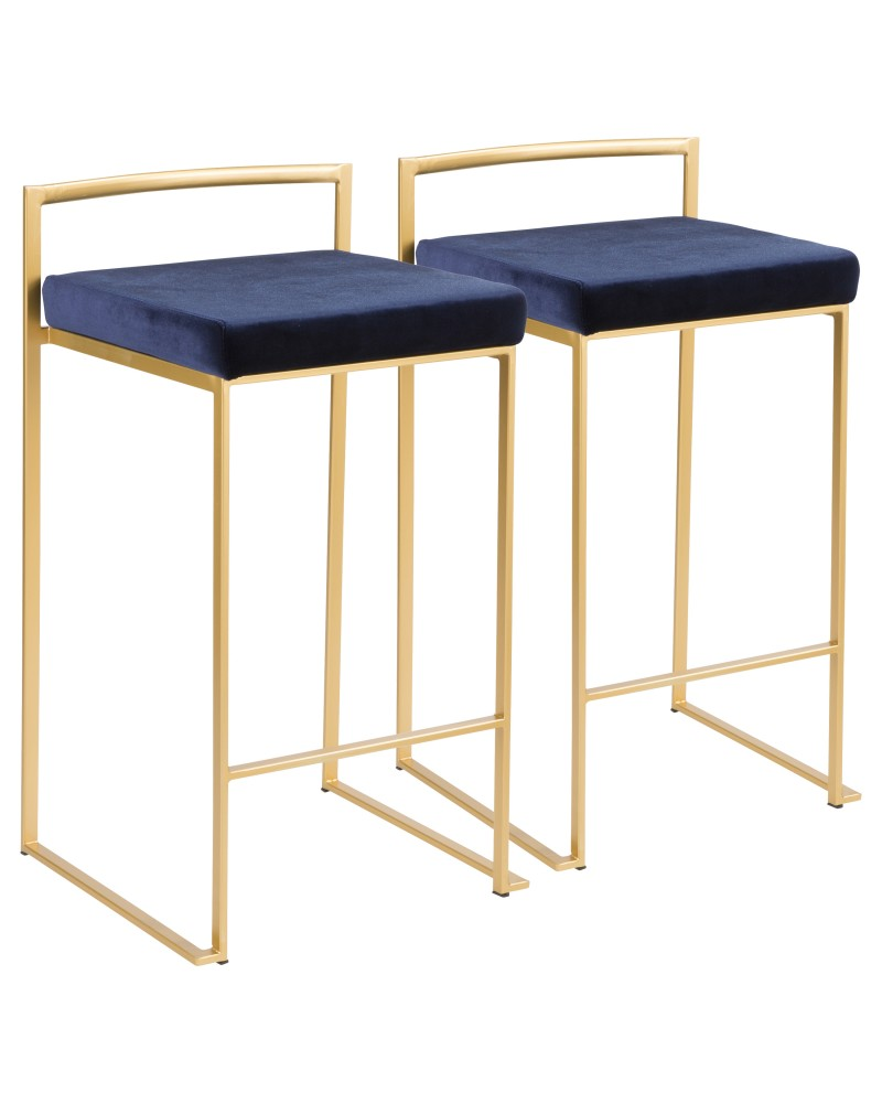 Fuji Contemporary-Glam Stackable Counter Stool in Gold with Blue Velvet Cushion - Set of 2