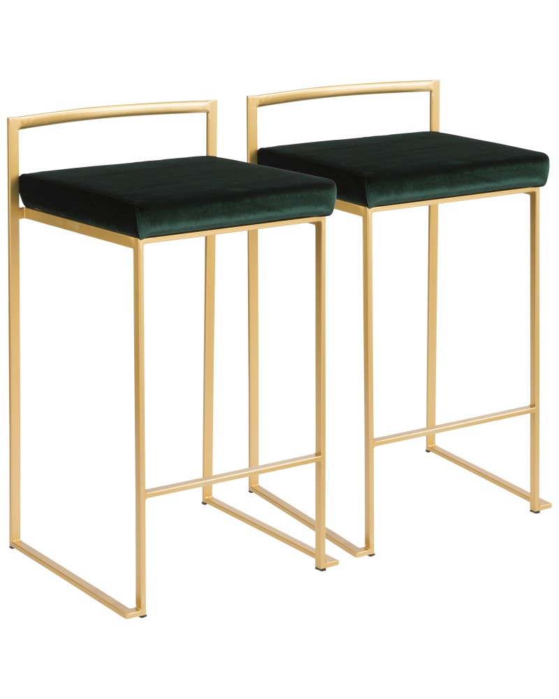 Fuji Contemporary-Glam Stackable Counter Stool in Gold with Green Velvet Cushion - Set of 2