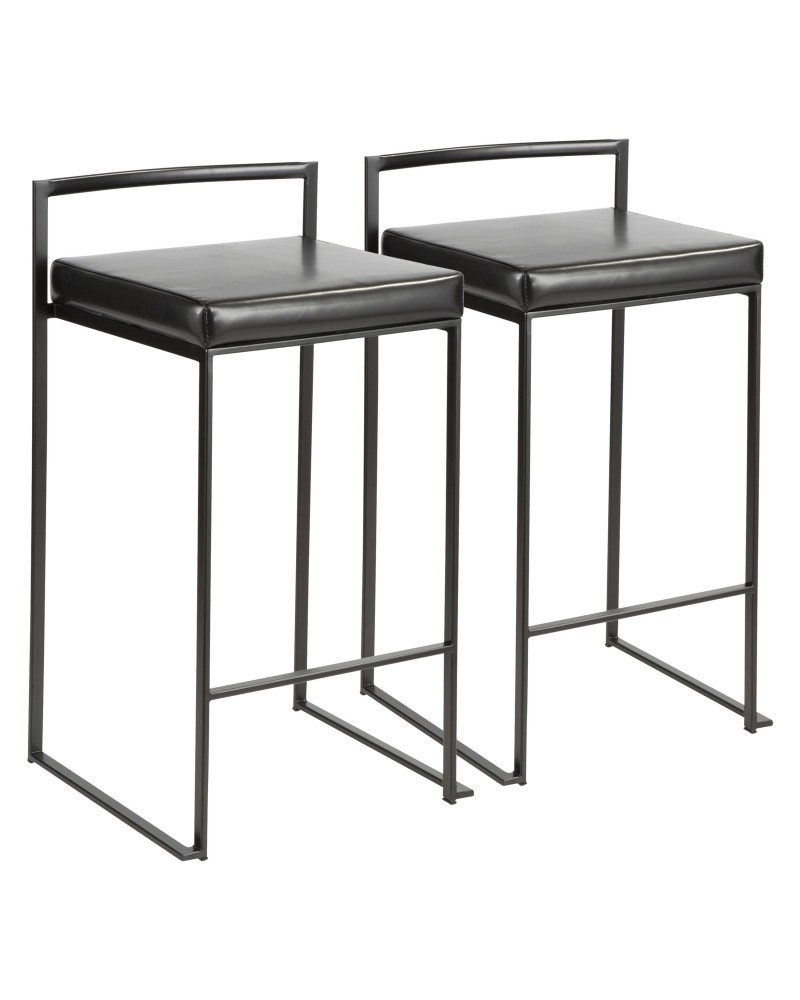Fuji Contemporary Stackable Counter Stool in Black with Black Faux Leather Cushion - Set of 2