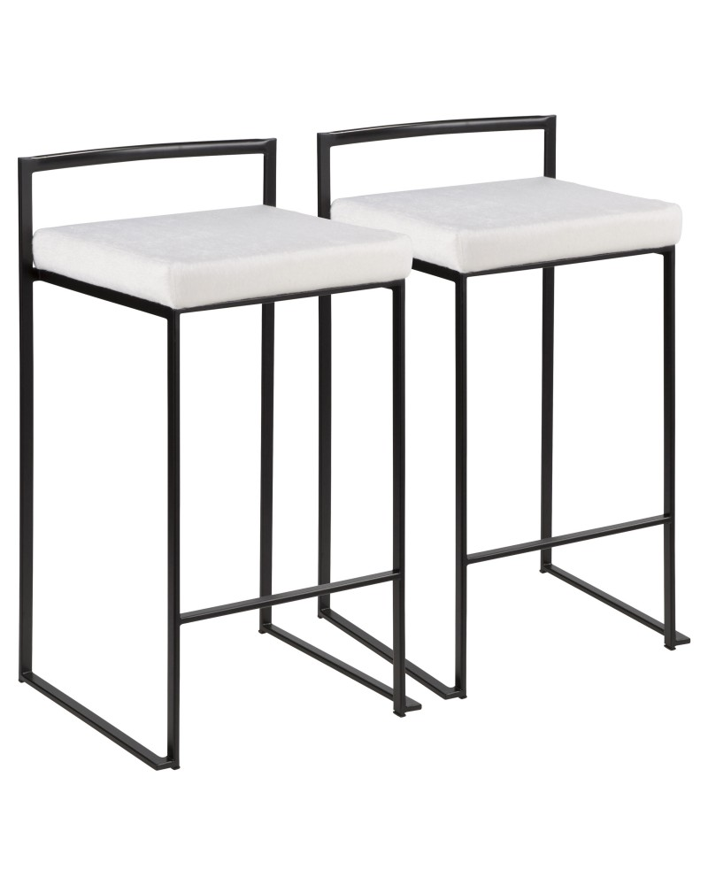 Fuji Contemporary Stackable Counter Stool in Black with White Mohair Cushion - Set of 2