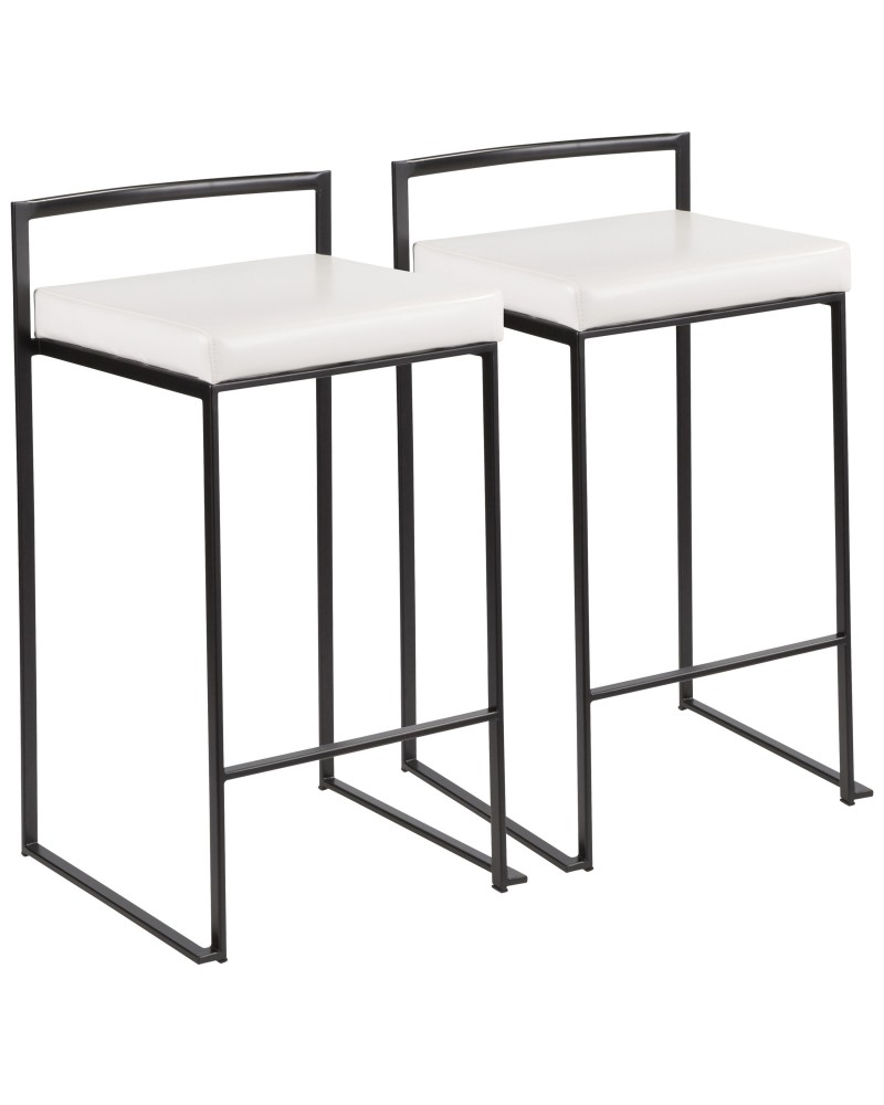 Fuji Contemporary Stackable Counter Stool in Black with White Faux Leather Cushion - Set of 2