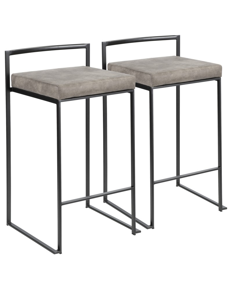 Fuji Contemporary Stackable Counter Stool in Black with Stone Cowboy Fabric Cushion - Set of 2