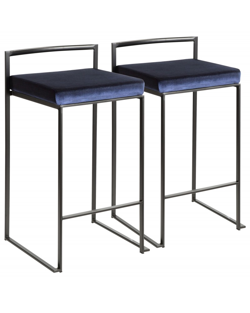 Fuji Contemporary Stackable Counter Stool in Black with Blue Velvet Cushion - Set of 2