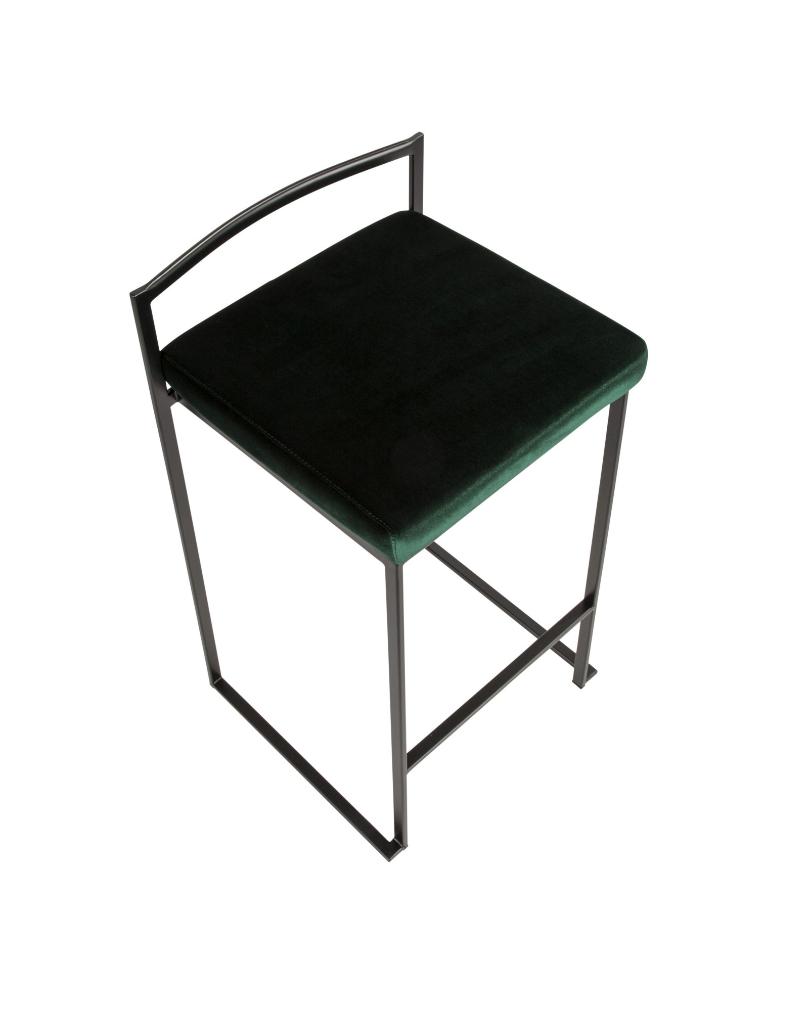 Fuji Contemporary Stackable Counter Stool in Black with Green Velvet Cushion - Set of 2