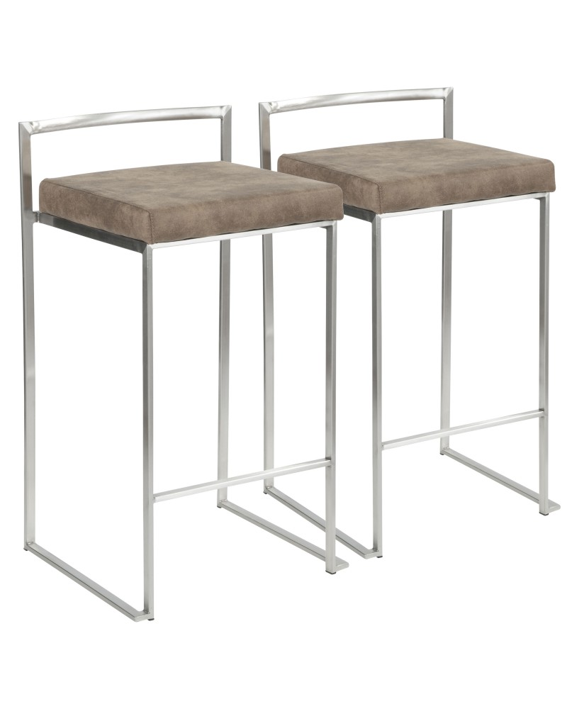 Fuji Contemporary Stackable Counter Stool in Stainless Steel with Brown Cowboy Fabric Cushion - Set of 2