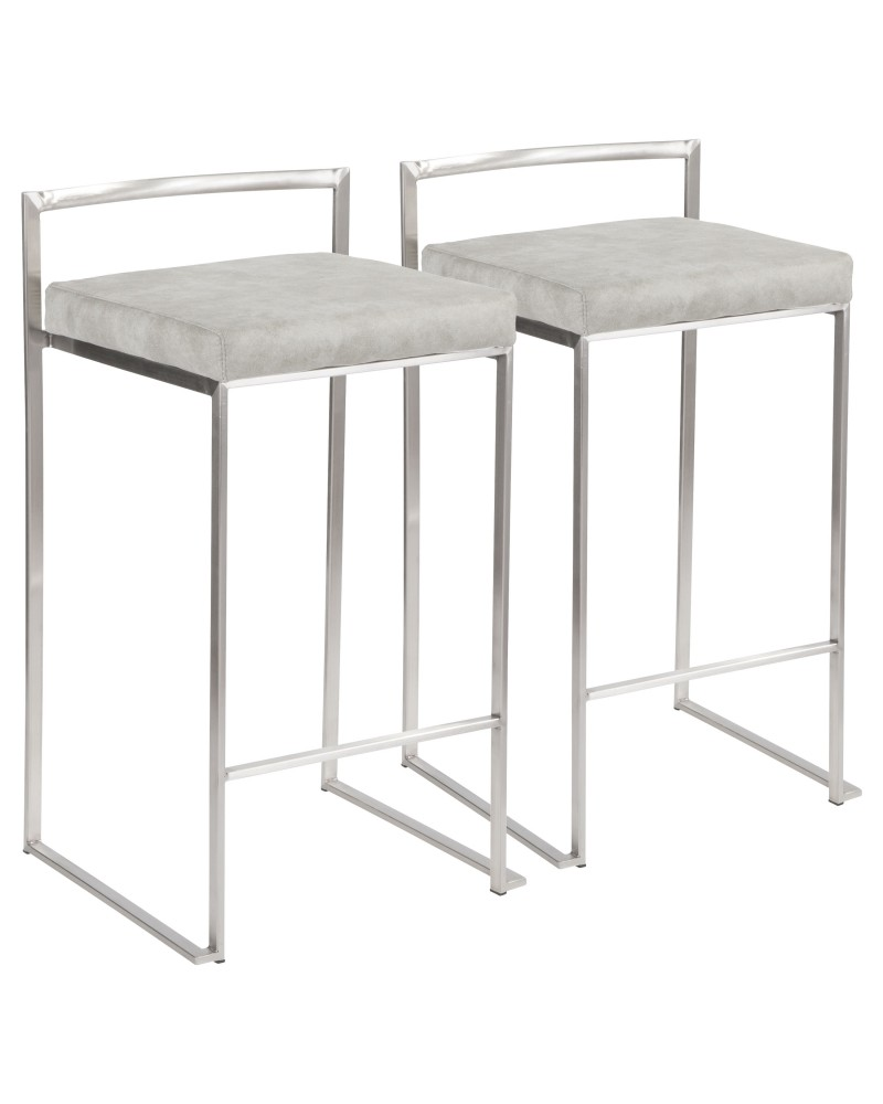 Fuji Contemporary Stackable Counter Stool in Stainless Steel with Light Grey Cowboy Fabric Cushion - Set of 2