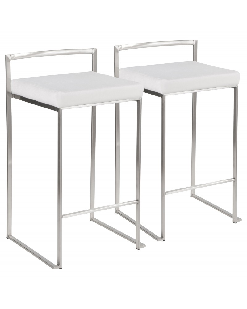 Fuji Contemporary Stackable Counter Stool in Stainless Steel with White Mohair Cushion - Set of 2