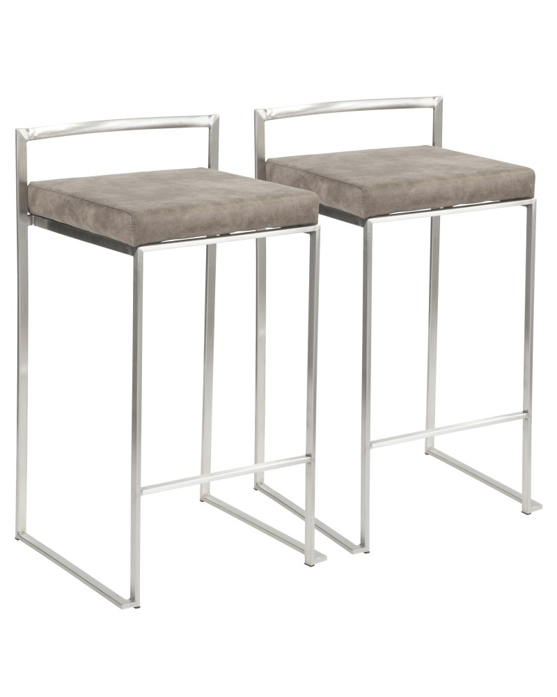 Fuji Contemporary Stackable Counter Stool in Stainless Steel with Stone Cowboy Fabric Cushion - Set of 2