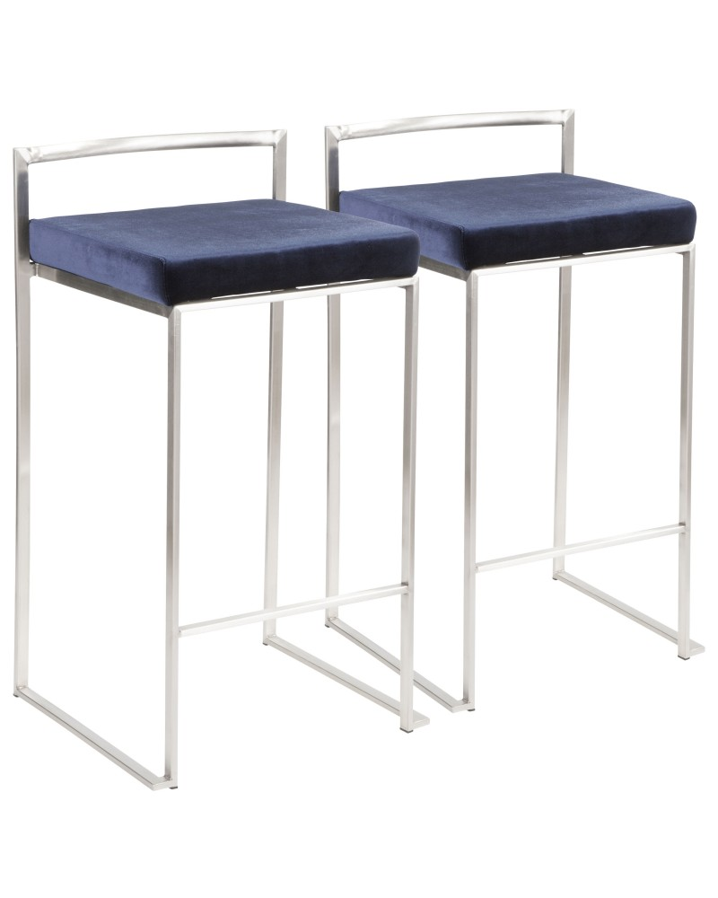 Fuji Contemporary Stackable Counter Stool in Stainless Steel with Blue Velvet Cushion - Set of 2